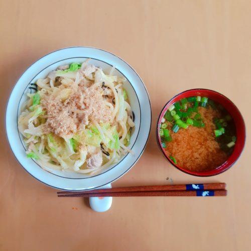 【妊娠24週1日目】妊婦のランチ(焼きうどん/チゲ風味噌汁)