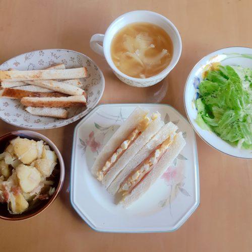 【妊娠24週4日目】妊婦のランチ(サンドイッチ/サラダ/スープ等)